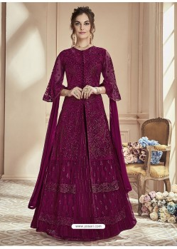 Purple Mono Net Embroidered Anarkali Suit