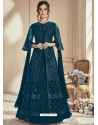 Teal Blue Mono Net Embroidered Anarkali Suit
