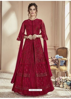 Red Mono Net Embroidered Anarkali Suit