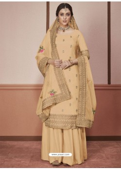 Yellow Dola Silk Embroidered Palazzo Suit