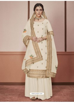 Cream Dola Silk Embroidered Palazzo Suit