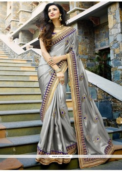 Astounding Satin Grey Designer Saree