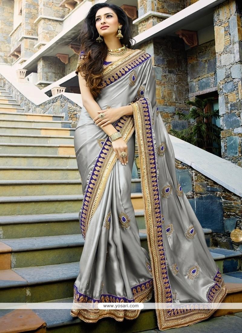 Astounding Satin Grey Designer Saree