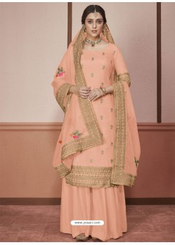 Peach Dola Silk Embroidered Palazzo Suit