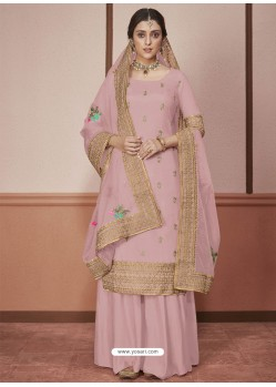 Light Pink Dola Silk Embroidered Palazzo Suit