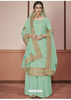 Sky Blue Dola Silk Embroidered Palazzo Suit