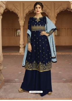 Navy Blue Georgette Satin Palazzo Suit