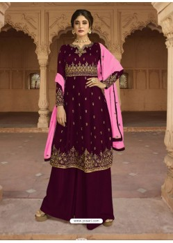Purple Georgette Satin Palazzo Suit