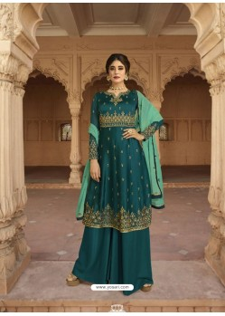 Teal Georgette Satin Palazzo Suit
