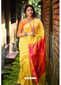 Yellow Linen Silk Weaving Printed Saree