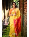 Yellow Linen Silk Weaving Printed Saree