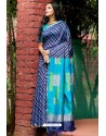 Navy Blue Linen Silk Weaving Printed Saree