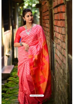 Crimson Linen Silk Weaving Printed Saree