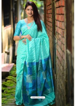 Sky Blue Linen Silk Weaving Printed Saree