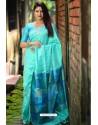 Sky Blue Linen Silk Weaving Printed Saree