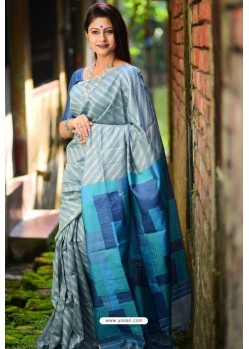 Grey Linen Silk Weaving Printed Saree