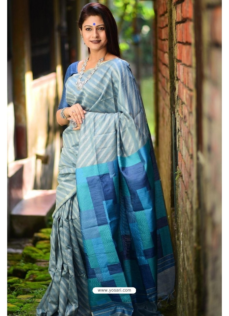 Grey Linen Silk Weaving Printed Saree