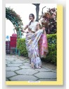 Silver Linen Art Silk Weaving Worked Saree