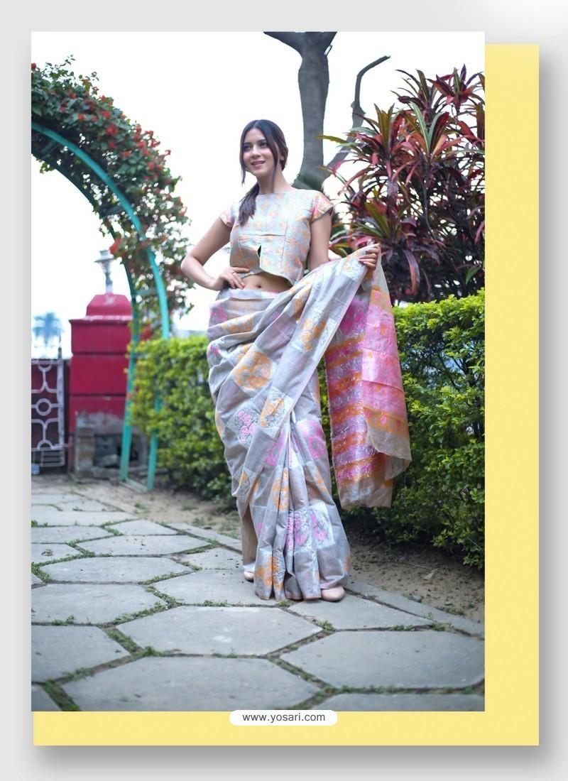 Silver Linen Art Silk Weaving Worked Saree
