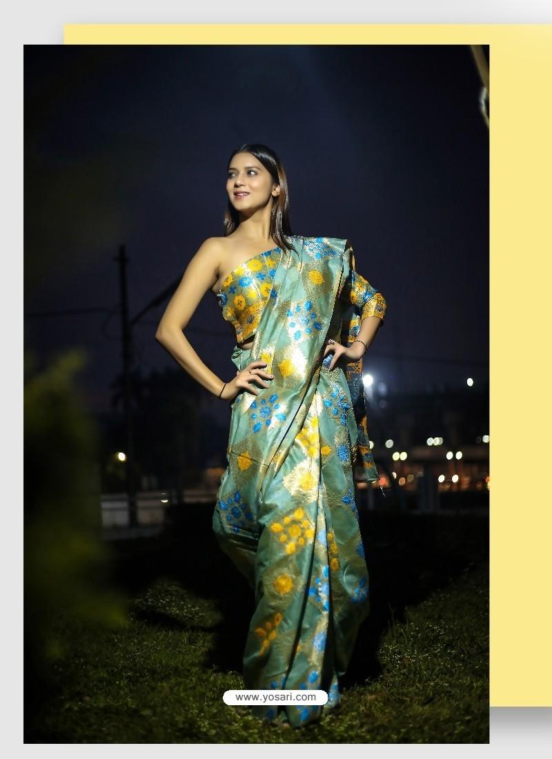 Teal Linen Art Silk Weaving Worked Saree