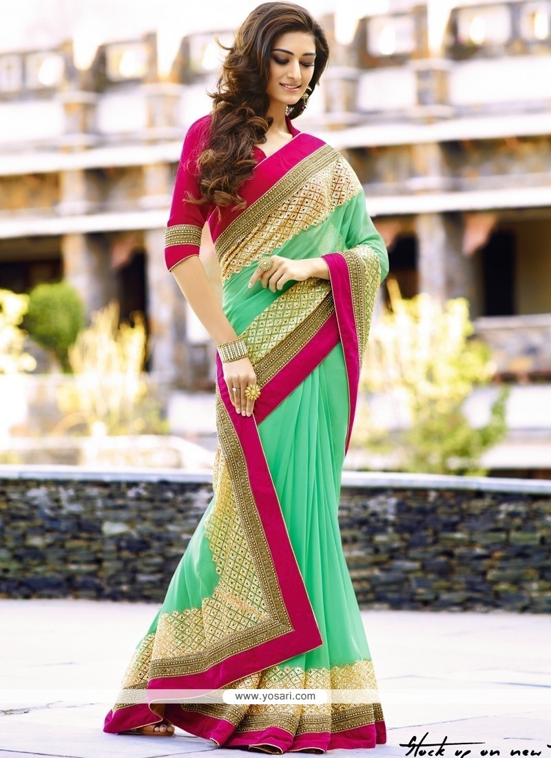 Baronial Viscose Sea Green Classic Saree