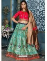 Aqua Mint Banarasi Silk Designer Lehenga Choli