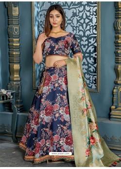 Navy Blue Jacquard Designer Lehenga Choli