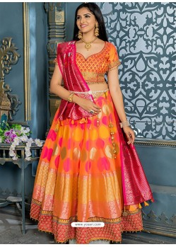Pretty Orange Banarasi Silk Designer Lehenga Choli
