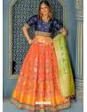 Dark Peach Banarasi Silk Designer Lehenga Choli