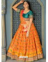 Mustard And Teal Banarasi Silk Designer Lehenga Choli