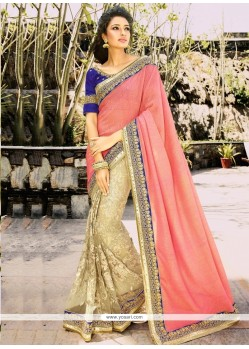 Beautiful Beige And Hot Pink Cutdana Work Net Half N Half Designer Saree