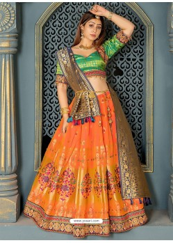 Mustard And Green Banarasi Silk Designer Lehenga Choli