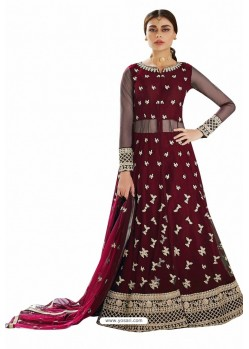 Maroon Net Embroidered Party Wear Suit