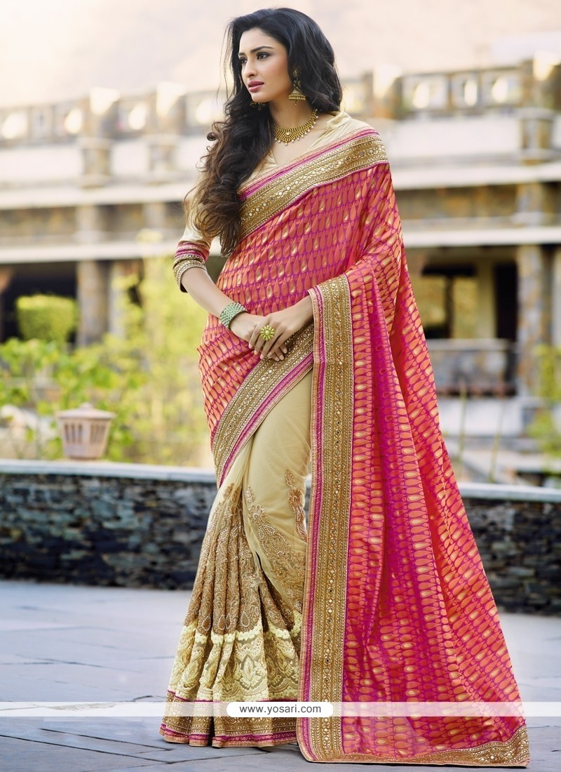 Desirable Net Hot Pink And Beige Designer Half N Half Saree