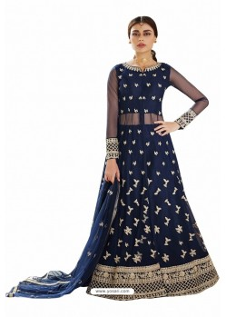 Navy Blue Net Embroidered Party Wear Suit