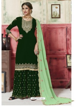Dark Green Georgette Embroidered Palazzo Suit