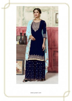 Navy Blue Georgette Embroidered Palazzo Suit