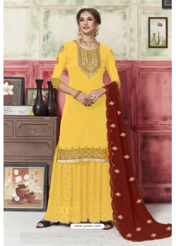 Yellow Georgette Embroidered Palazzo Suit