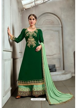 Dark Green Blooming Georgette Palazzo Suit