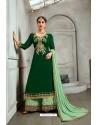 Dark Green Blooming Georgette Palazzo Suit