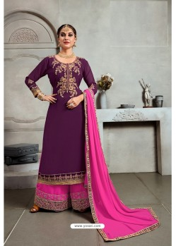 Purple Blooming Georgette Palazzo Suit