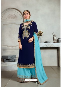 Navy Blue Blooming Georgette Palazzo Suit