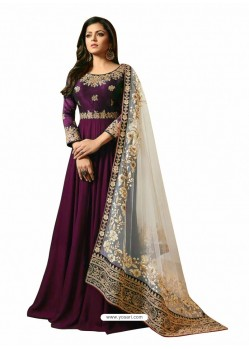 Purple Faux Georgette Embroidered Anarkali Suit