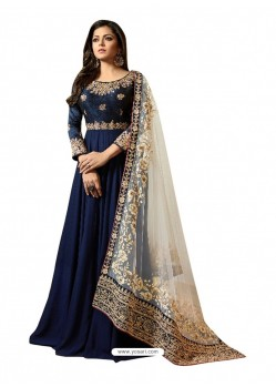Navy Blue Faux Georgette Embroidered Anarkali Suit