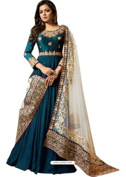 Teal Blue Faux Georgette Embroidered Anarkali Suit