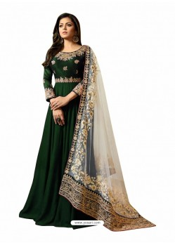 Dark Green Faux Georgette Embroidered Anarkali Suit