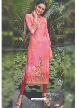 Hot Pink Rayon Printed Readymade Kurti