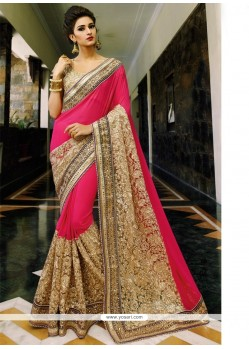 Appealing Patch Border Work Hot Pink Georgette Classic Designer Saree