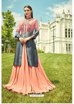 Peach Apple Georgette Readymade Kurti