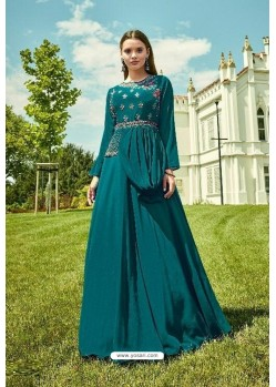 Teal Blue Apple Georgette Readymade Kurti
